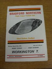 27/03/1978 Rugby League Programme: Bradford Northern v Workington Town