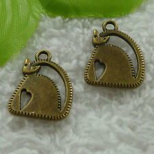 free ship 80 pcs bronze plated cat charms 23x17mm #2906