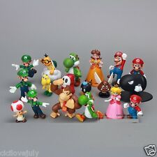 """18 pcs A Super Mario Bros Action Figures Figurines Doll toy Playset LOT 1.5-2.5"""""""