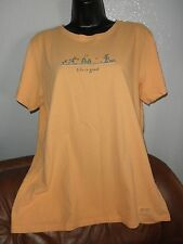 Ladies Short Slv Light Orange Top, Horseshoes Theme, Life Is Good, L