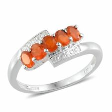 Jalisco FIRE OPAL 5 Stone RING in Plat Overlay Sterling Silver 0.90 Cts. Size 7