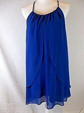 Double Zero Gorgeous Solid Royal Blue Drape Overlay Dress  Women's S New Medium