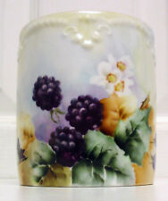 Antique Signed AK French Limoges Condensed Milk/Jam Container Berries Circa 1890