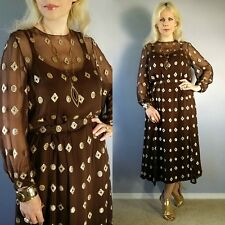 Vtg 60-70's Sheer GOLD Metallic BROCADE Silk Grecian Flouncy Mod BLOUSON Dress