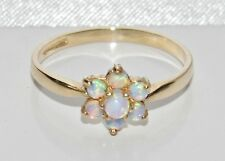 9ct Yellow Gold Opal Cabochon Daisy Cluster Ring size O