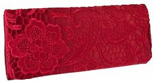 New Womens Satin Lace Embroidered Clutch Bag Wedding Party Prom Evening Handbag