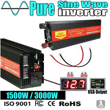 Pure Sine Wave 1500W Max 3000W 12V/230V Watt Power Inverter Car Camping Caravan