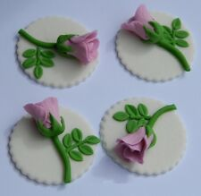 12 edible ROSE BUD DISC cake decoration CUPCAKE TOPPER wedding christening icing