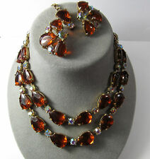 Selro Selini Vintage Amber Lucite AB Glass 2 Strand Adjust Necklace Earrings Set