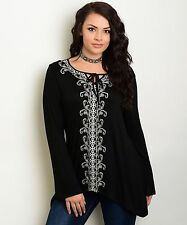 Size 1X SHIRT TOP Womens Plus BLACK White Embroidery LONG SLEEVE Araza NWT NEW