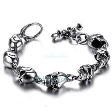 """8.27"""" Large Heavy Stainless Steel Gothic Skull Biker Men's Boy's Chain Bracelet"""