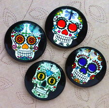 4 pcs 25mm Domed Round Skull cabochon Muerte cabochons S001