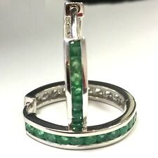 Brand New 1.00 Carat Round Green Emerald Hoop Earrings Crafted in 9k White Gold.