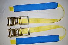 """4"""" UNDERLIFT TIE DOWN STRAP & RATCHET - 1 pair TOW TRUCK, WRECKER, ROLLBACK yel"""