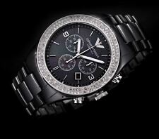 NUOVO Donna Emporio Armani Black Ceramica cristalli watch ar1455 - 2 anni di garanzia