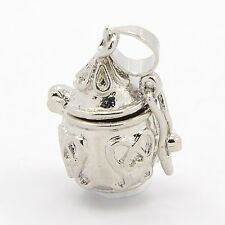 Silver Scrolled Teardrop Wish Prayer Box Locket Charm or Pendant