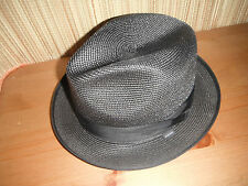 STETSON BLACK COLOR MILAN STRAW FEDORA HAT LARGE 7 3/8