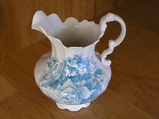 "Large Antique Laughlin Chamber Wash Pitcher Blue Roses 11 3/4"" Lion & Eagle Logo"