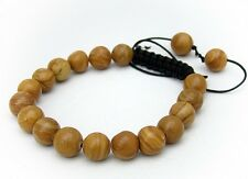 Men's Shamballa bracelet all 10mm NATURAL ROUND GRAIN stone beads