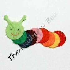 5 Caterpillars Diecut Caterpillar Handmade Mulberry Paper bugs Picnic party card