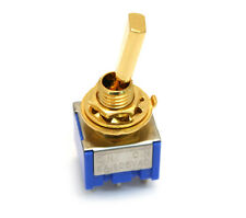 (1) Gold ON-ON 2-way DPDT Mini Toggle Switch for Guitar/Bass EP-0081-002