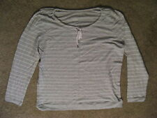 MERONA 100% Cotton Tee Shirt Sleep Wear Long Sleeve Sleeping Pajamas-Lt Grey-XXL
