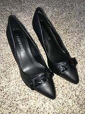 Catherines Shoes Black Poise Heel Pumps 12W Size 12 Wide NIB