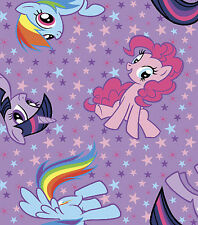 """My little Pony Purple Toss 100% cotton 43"""" fabric by the yard 36"""""""