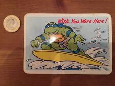 """Vintage 1990 """"Teenage Mutant Hero Turtles"""" Raros Pegatina Postal """"surf"""""""