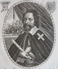 PIERRE L'HERMITE, Pr. du Nom. Portrait. Gravure originale de 1650. B. Moncornet