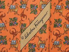 SALVATORE FERRAGAMO NECK TIE MONKEY PATTERN ON ORANGE SILK MEN'S TIE