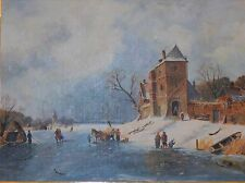 """Large """"Frozen Winter Village"""" People playing on Ice Oil on Board Framed"""
