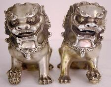 Rare Pair Chinese Silver Bronze Fierce Fu Foo Dog Guardian Lions Statues China