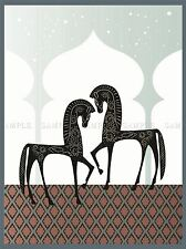 ILLUSTRATION DECORATIVE ARABIAN HORSES ARCH STARS POSTER ART PRINT VE059A