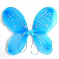 Girls Kids Angel Fairy Butterfly Wings Halloween Fancy Dress Costume Blue