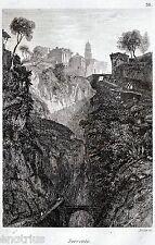 Sorrento: Panorama.Golfo di Napoli.Audot.Acciaio.Stampa Antica.Passepartout.1835