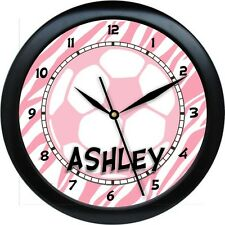 Personalized Girl Soccer Ball Wall Clock Pink or Custom Colors  Gift