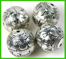 4 Silver Pewter Ball Round Focal Pendant Beads 18mm ~ Lead-Free ~