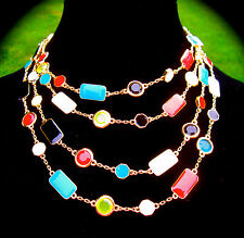 Kate Spade NY Multi Pop Palette Four 4 Strand Gold Yellow Black Red Necklace