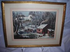 """Art,Currier & Ives,""""A Home in The Wilderness"""",framed,matted ,and glassed"""