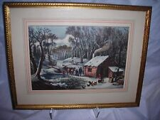 "Art,Currier & Ives,""A Home in The Wilderness"",framed,matted ,and glassed"