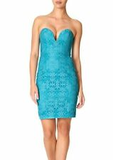FOREVER UNIQUE NAOMI TURQUOISE LACE STRAPLESS MINI COCKTAIL PROM DRESS UK 8 BNWT
