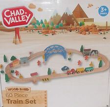 Wooden Train Set Toy 60 PIECE  BRIO ELC THOMAS Compatible Track Chad Valley New