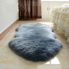 NEW Double Pelt Large Sheepskin rug Gray Soft Lambskin rug 6' x 2' Two Pelts rug