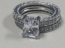 Victoria Wieck Vintage 4 CT Topaz 10KT white gold filled ring set Size 6