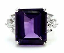 8.35 Carats Natural Amethyst and Diamond 14K Solid White Gold Ring