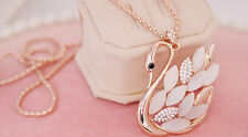 Crystal Opal Cute Swan Style Pendant Gold Chain Sweater Necklace Fashion