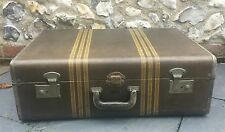 Vintage 1940's McBrine Hard Tweed Suitcase / Trunk Fab Interior & Cunard labels