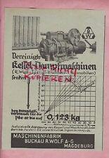 MAGDEBURG-BUCKAU Werbung 1933, Maschinen-Fabrik R. Wolf AG Kessel-Dampfmaschinen