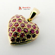 Naturally Treated Ruby 14K Gold Heart Form Pendant